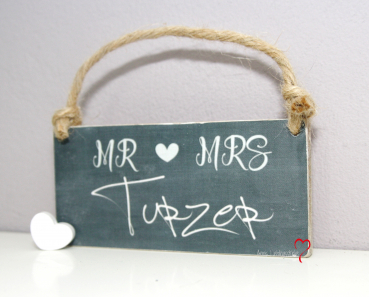 Holzschild Mr&Mrs Name